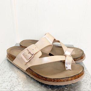 Madden Girl Rose Gold Toe Strap Sandals
